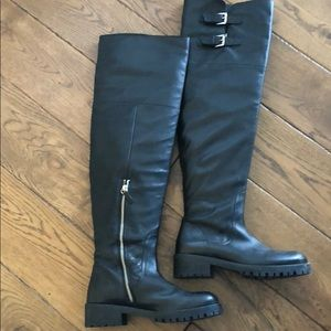 Zara Over the Knee Black Leather Boots Never Worn